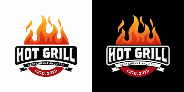 Hot grill logo design template
