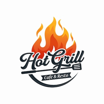 Шаблон дизайна логотипа горячий гриль
