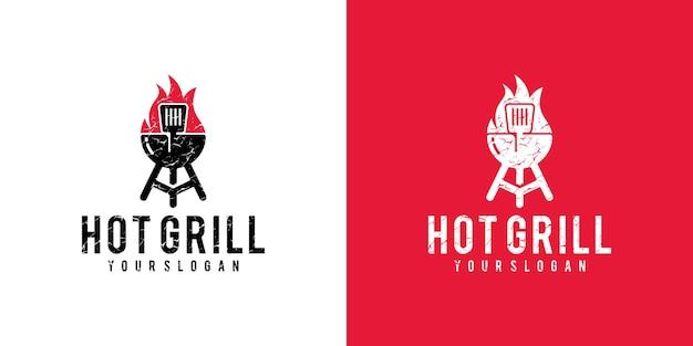 Горячий гриль ресторан логотип старинный дизайн шаблона