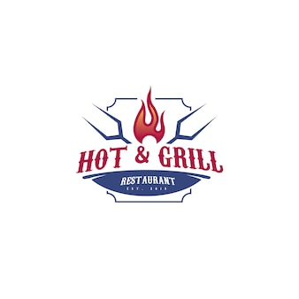 Современный шаблон логотипа hot & grill