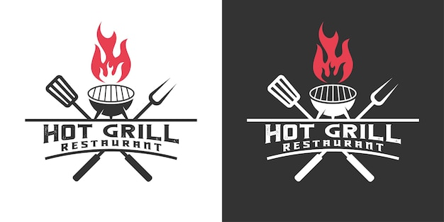 Hot grilled, rustic, barbecue, restaurant with flame logo template