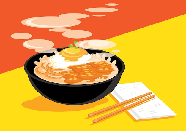Hot gyudon with onsen egg ready to eat