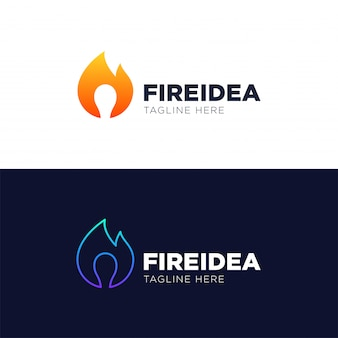 Hot idea logo template design vector, emblem, design concept, creative symbol