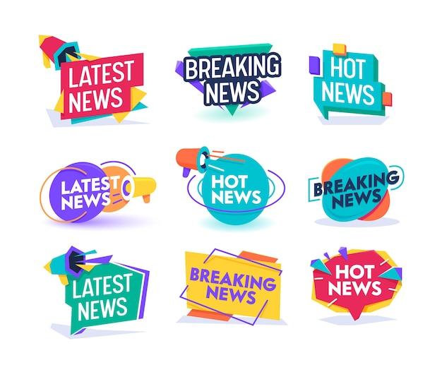 Набор шаблонов значков ежедневного обновления горячих последних новостей