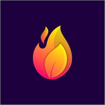 뜨거운 잎 로고 템플릿