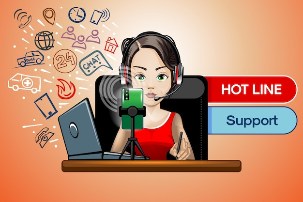 Hot line is a 24-hour customer support service.