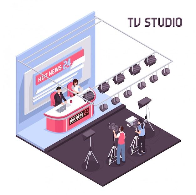 白い背景のアイソメ図にテレビスタジオのコンセプトからホットニュースライブ放送