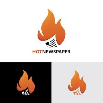 Шаблон логотипа горячей газеты премиум векторы