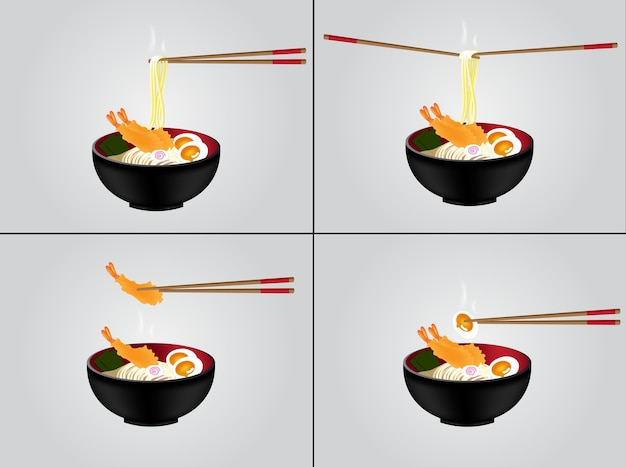 Hot noodle with black bowl testy food background