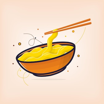 Hot noodle with chopsticks to eat in summer