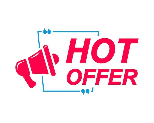 Hot offer labels speech bubbles with megaphone iconbanner for social media website faq