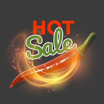 Hot offer with burning fire and realistic red chili pepper. hot sale.