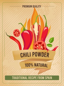 Hot pepper poster. traditional mexican cuisine spiced with chilli pepper vintage restaurant menu or placard template.