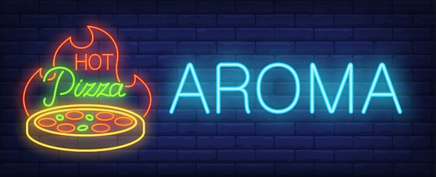 Hot pizza aroma neon sign