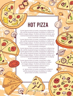 Hot pizza banner or flyer