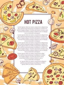 Горячая пицца баннер или флаер