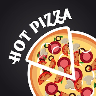 Hot pizza over black background vector illustration