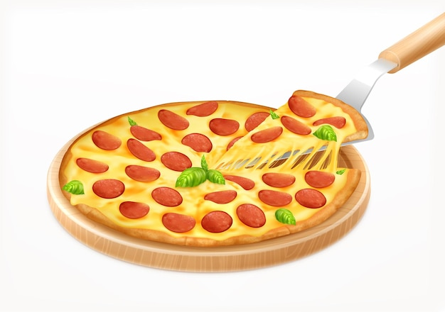 Hot pizza with piece on board realistic composition with round wooden carving board with pizza