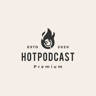 Hot podcast fire hipster vintage logo icon illustration
