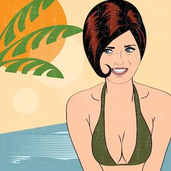 ビーチのホットポップアートガール