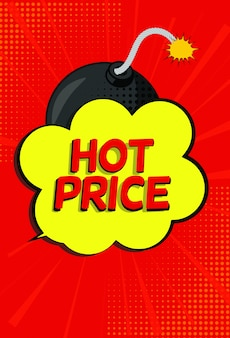 Hot price sale banner with speech bubble and bomb in pop art style