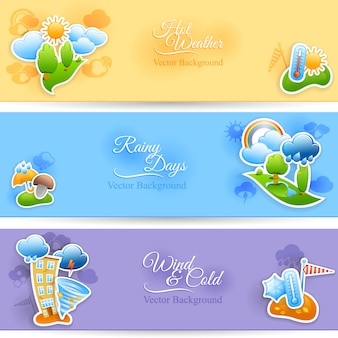 Hot rainy and cold windy days seasonal weather background flat horizontal banners set