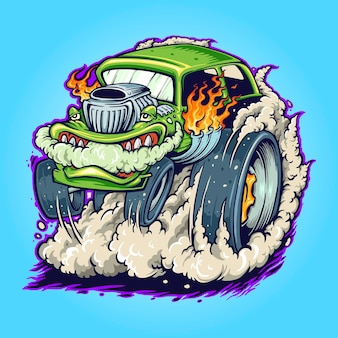 Hot road car monster vape vector illustrations for your work logo, mascot merchandise t-shirt, stickers and label designs, poster, greeting cards advertising business company or brands.