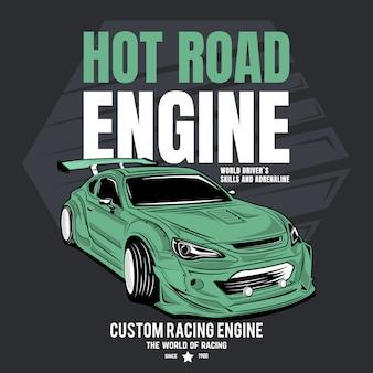 Двигатель hot road, плакат спортивного гоночного автомобиля