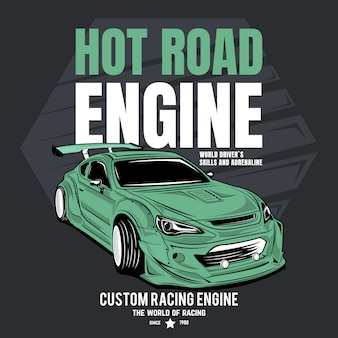 Hot road engine, poster of a sports racing car