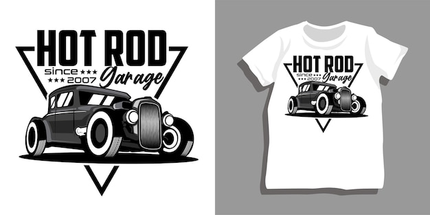 ホットロッドカーガレージtシャツのデザイン
