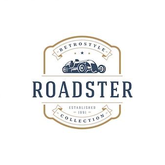 ホットロッド車のロゴのテンプレート要素ビンテージスタイル