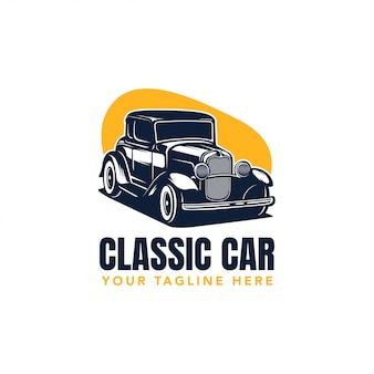 ホットロッドクラシックカーのロゴ、ベクトルビンテージイラスト