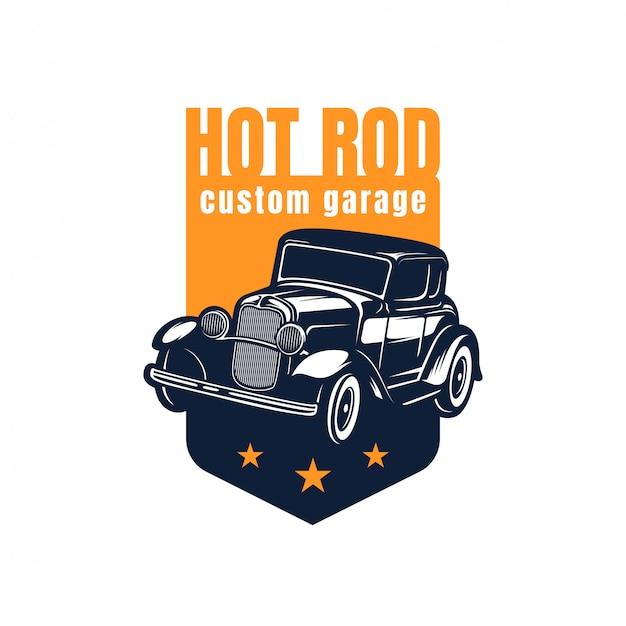 ホットロッドのクラシックカーのロゴ