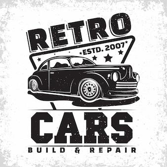 Hot rod garage logo design, emblem of muscle car repair and service organisation, retro car garage print stamps, hot rod typography emblem