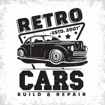 Hot rodガレージのロゴデザイン、マッスルカーの修理およびサービス組織のエンブレム、レトロカーガレージの印刷スタンプ、hot rodタイポグラフィのエンブレム
