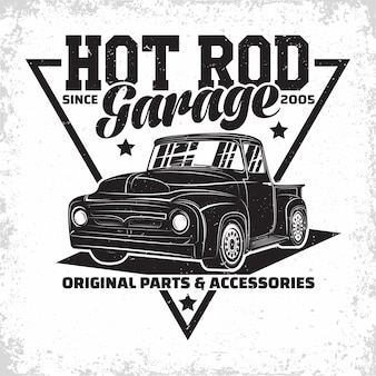 Hot rod garage logo design with an emblem of muscle car repair