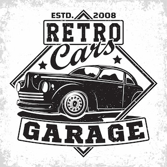 Hot rod garage logo , emblem of muscle car repair and service organisation, retro car garage print stamps, hot rod typography emblem,