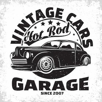 Hot rodガレージのロゴ、マッスルカーの修理およびサービス組織のエンブレム、レトロカーガレージの印刷スタンプ、hot rodのタイポグラフィのエンブレム、