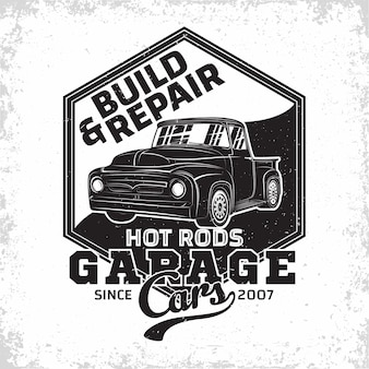 Hot rod garage logo illustration