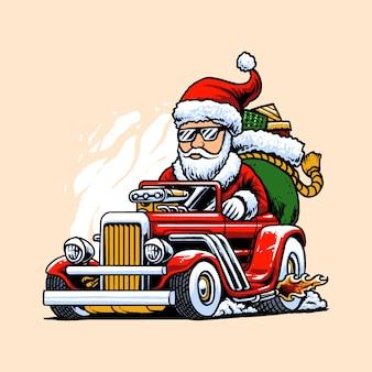 Hot rods santa illustration