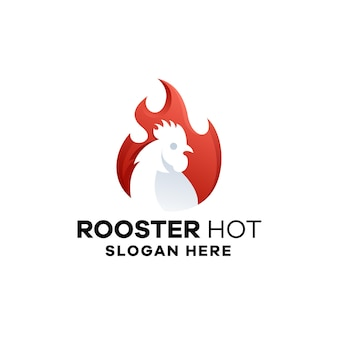 Hot rooster gradient logo template