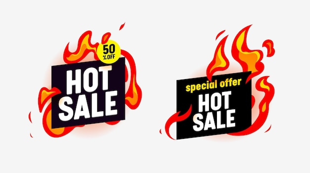 Hot sale abstract banners with burning fire and typography for social media marketing. special offer for shop or discounter, shopping posters in simple funky style, advertising. vector illustration