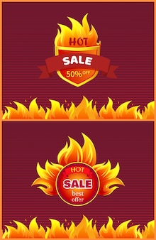 Лучшее предложение hot sale badge промо-предложение горящий огонь