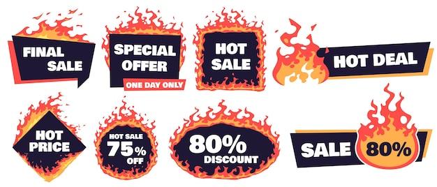 뜨거운 판매 배지. 화재 거래 배너, 핫 가격 배지 및 프로모션 제공 불타는 라벨 프레임