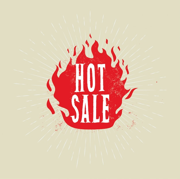 Hot sale banner. fire flame with hot sale caption.