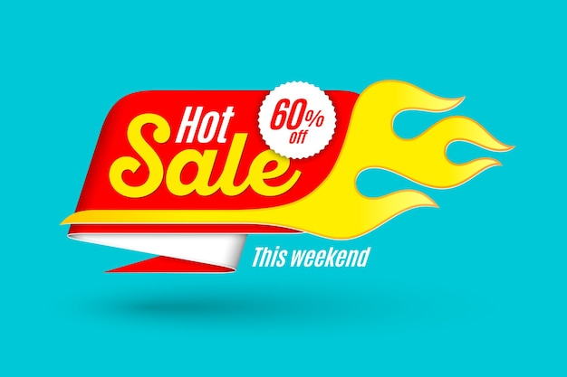 Hot sale banner template with flame.