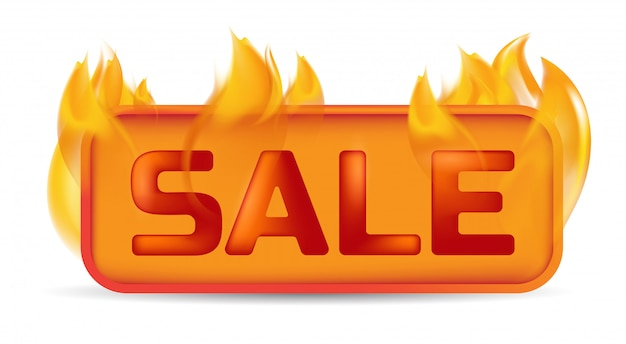 Hot sale banner or website button on fire.