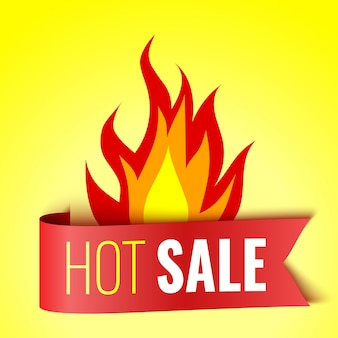 Hot sale banner with fire and red tag vector illustration
