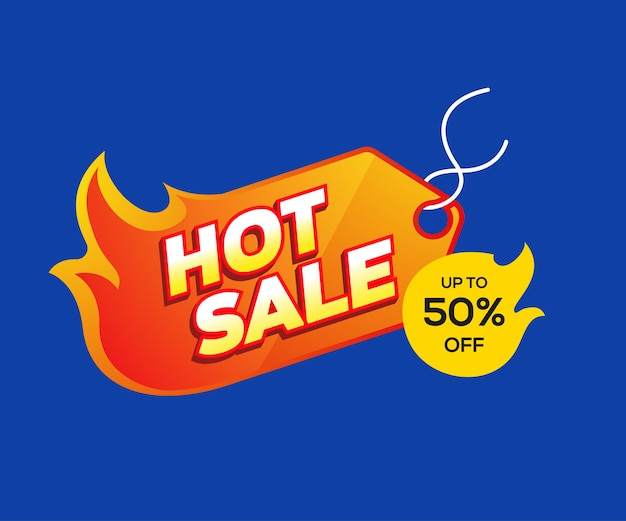 Hot sale and discount labels with a fire symbol