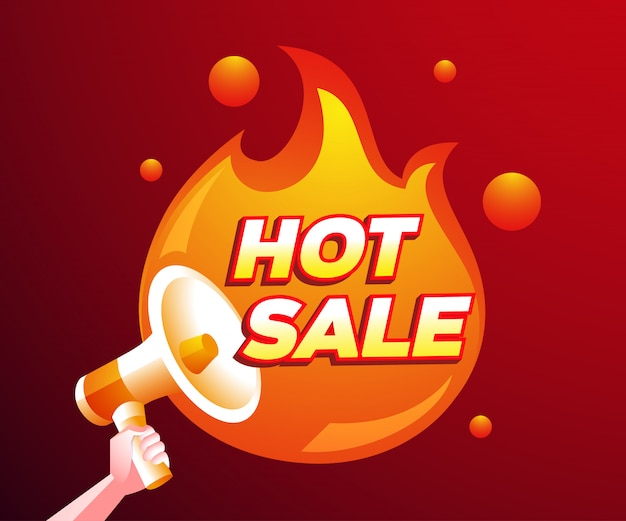 Hot sale discount with a fire and megaphone symbol